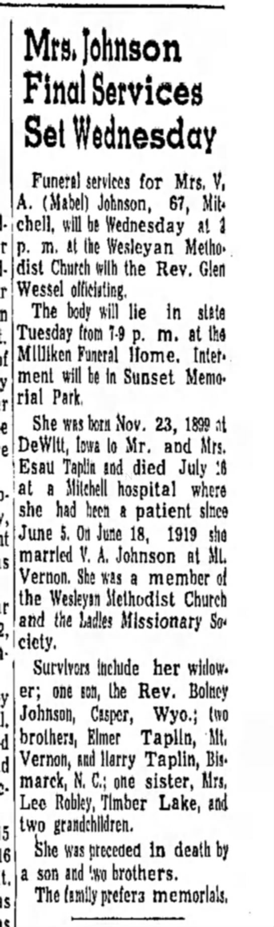 Elsie Maud Talpen Robley's sister.Daily Republic-p.3-17 July 1967 -
