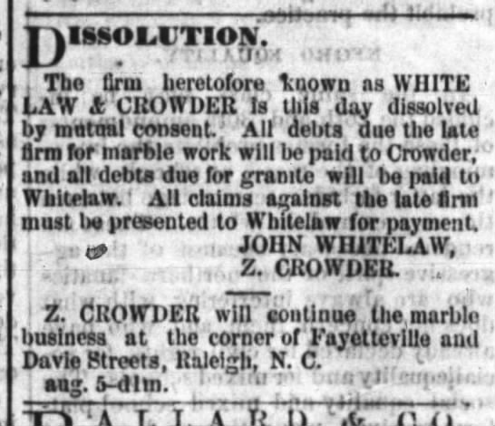 Whitelaw and Crowder out of business -