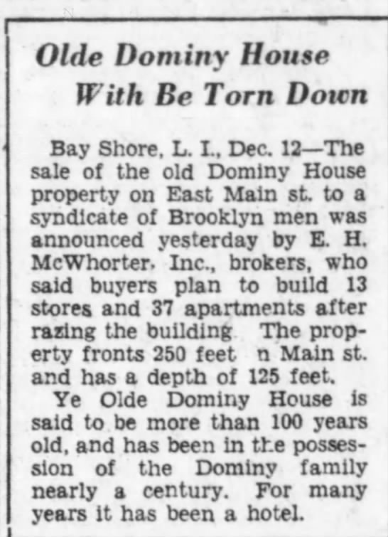 Dominy House to be torn down.  BROOKLYN DAILY EAGLE  12.12.1929 -