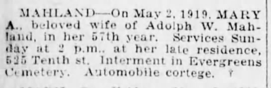 MAHLAND Mary A-death notice-BrooklynDailyEagle-2 May 1919 -