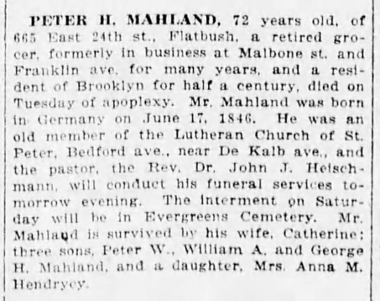MAHLAND Peter H-obit-BrooklynDailyEagle-18 Nov 1918 -