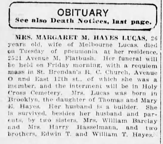 Obituary for Margaret M  (Hayes) Lucas  2nd wife of