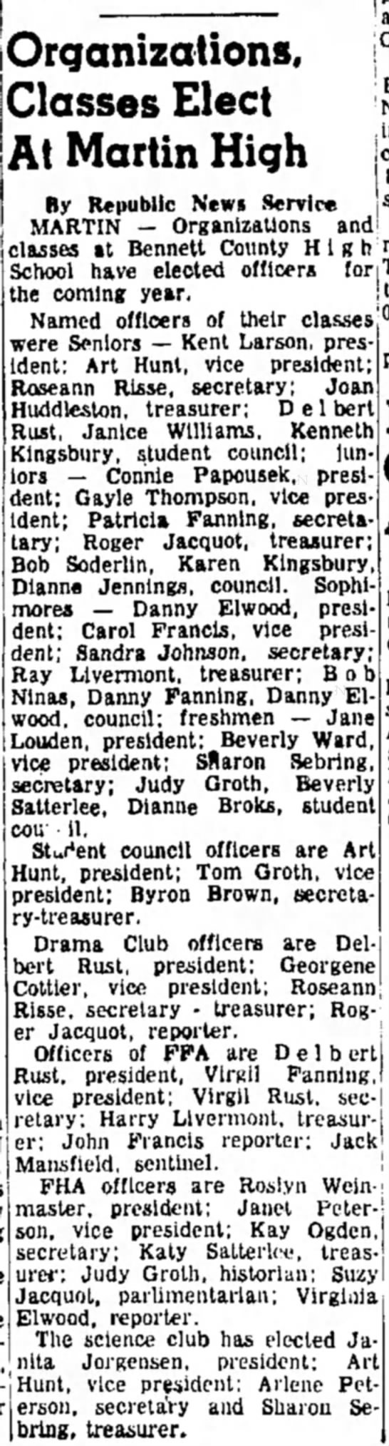 Connie Papousek Daily Republic Mitchell SD 26 Sept 1960 Student Council juniors -