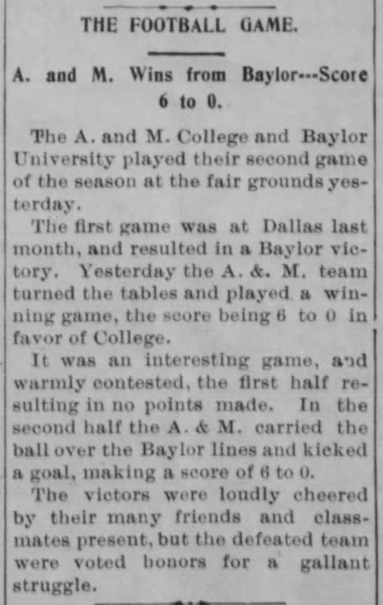The Football Game: A. and M. Wins From Baylor --- Score 6 to 0 -