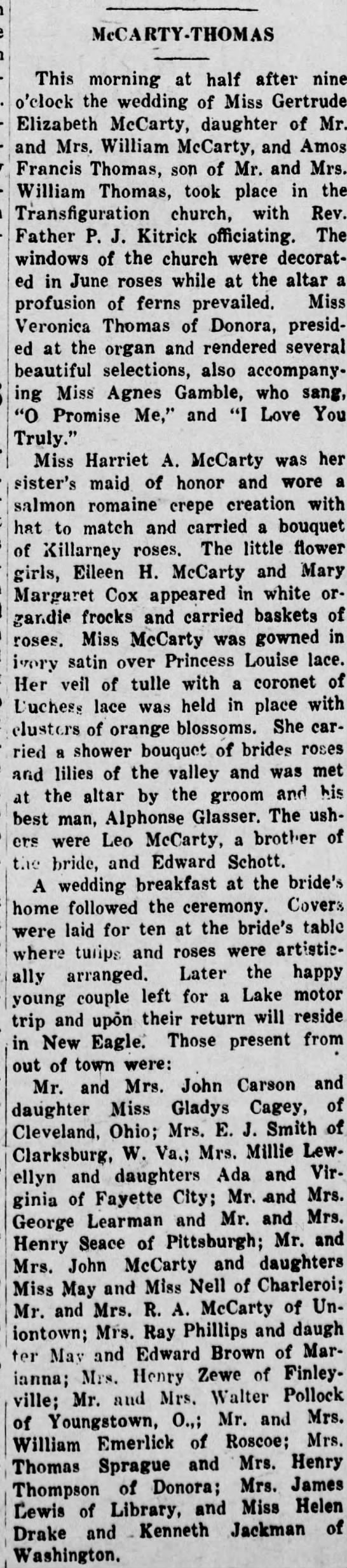 Thomas//McCarty Wedding Announcement -June 1925 -