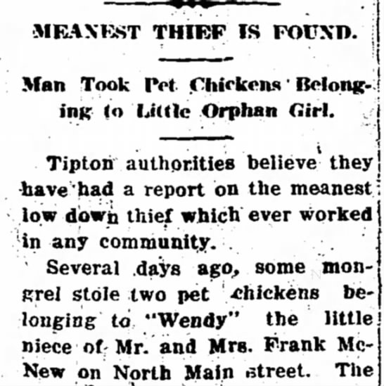 """Meanest Thief"" Stole Chickens from Orphan Girl -"