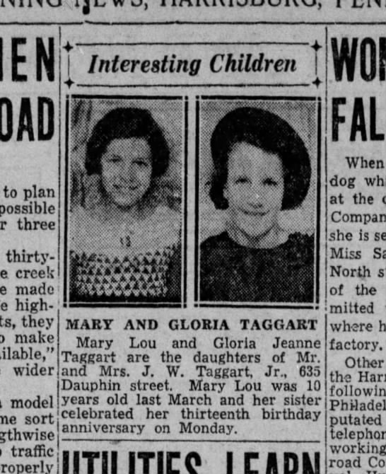 Children of John Taggart Jr and Beatrice -