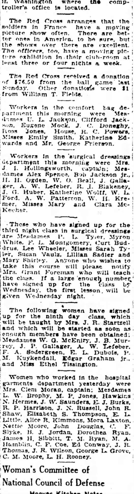 Muskogee Times Democrat, 22 June 1918 Red Cross workers-Mora Laxton -