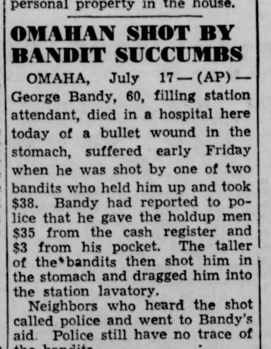 George Bandy The Lincoln Star 17 Jul 1943 -