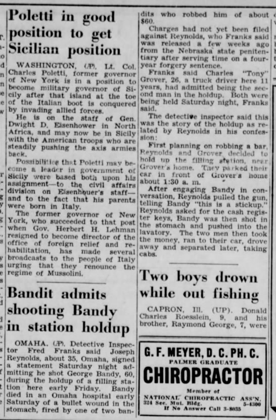 George Bandy The Lincoln Star July 18 1943 -