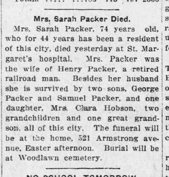 Sarah (wife of Henry) packer death -