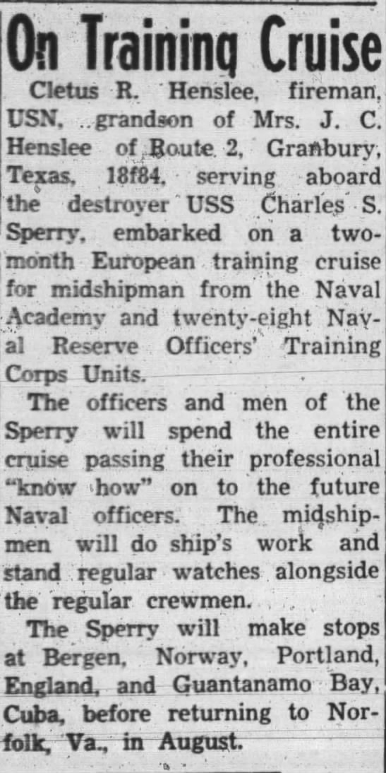 Cletus Ray Henslee Naval Training; Hood County News; July 17, 1952 -