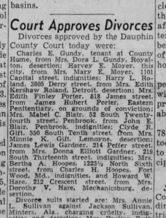 Charles Hoopes Bertha Kitner Divorce granted- while he is at war -