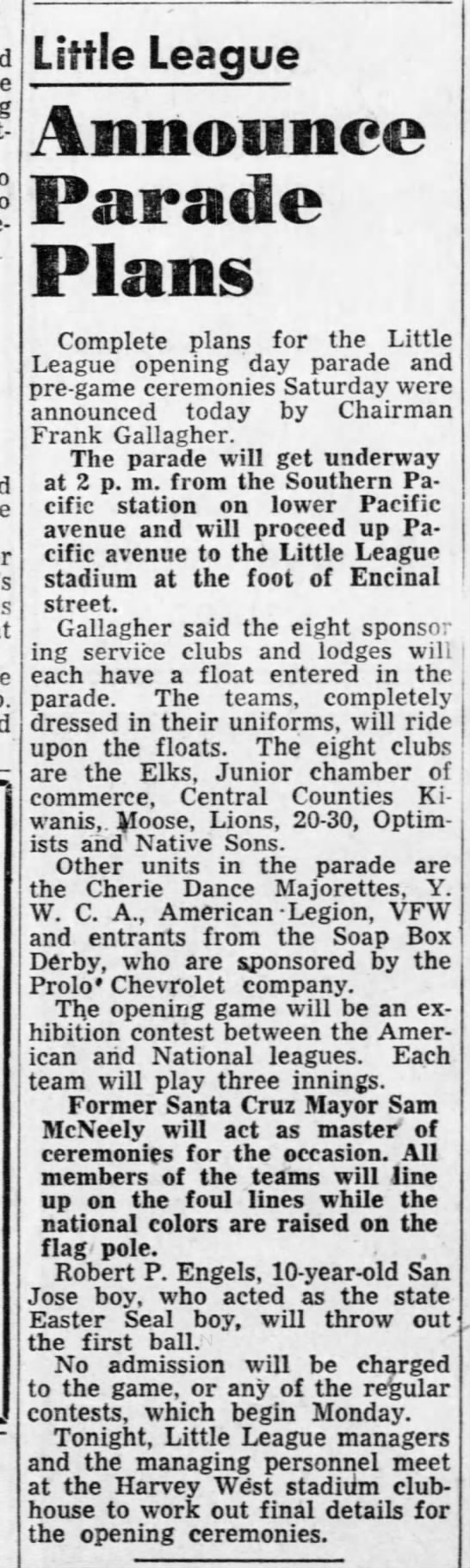 june 3,1952 LL ParadeAnnounced -