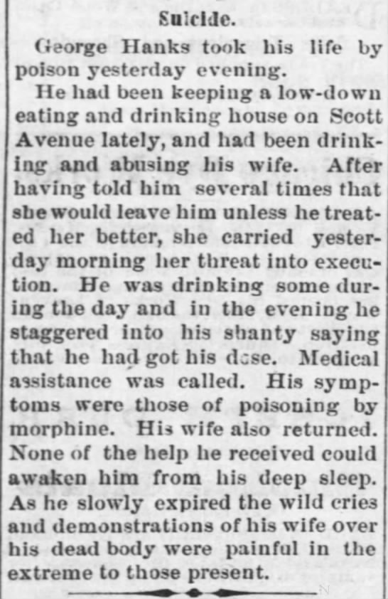 Suicide, Fort Scott Daily Monitor (Fort Scott, Kansas), Tue, Oct 24, 1871, page 4 -