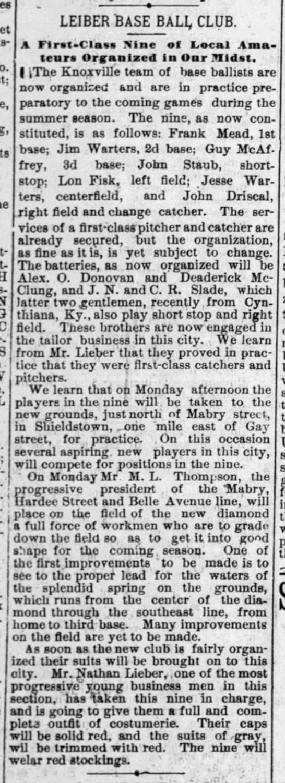 1886 - Leiber Base Ball Club organized.  Shieldstown grounds described.  Uniforms described. -