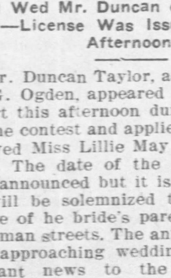 Duncan Taylor of Hobart, Ok, marries -