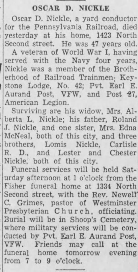 Oscar Nickle obit -