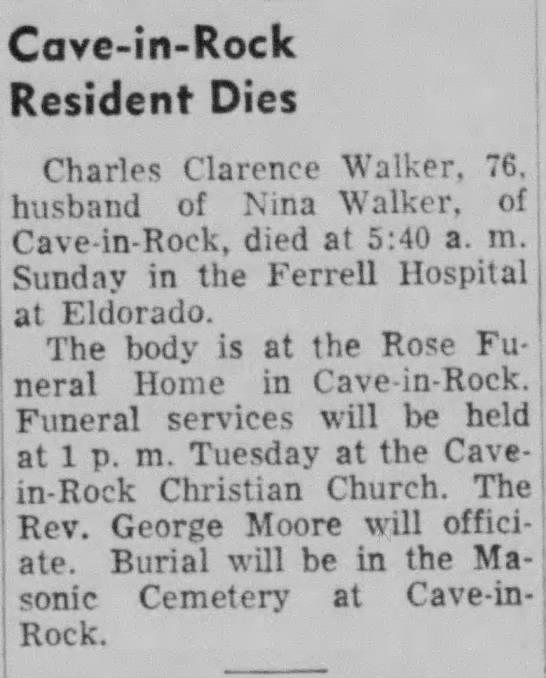 Clarence Walker's death notice -