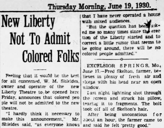 Liberty theatre - whites only policy -