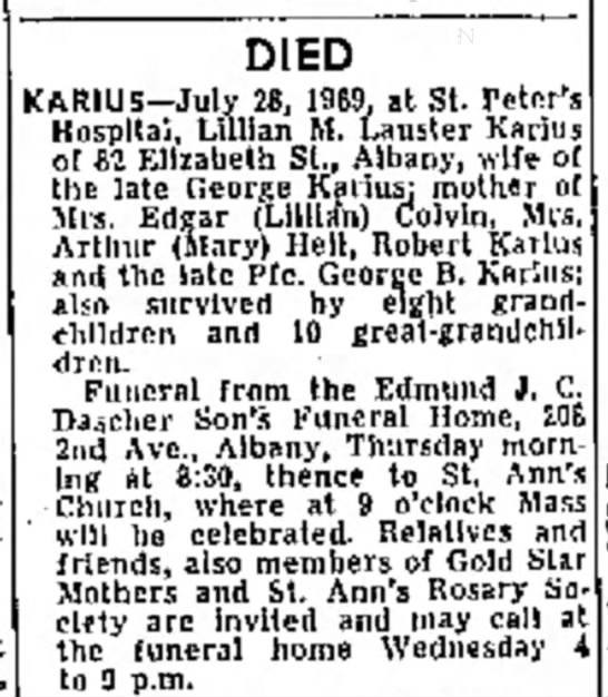 Troy Times Record 30 July 1969 Lillian Lauster Karius obit - away DIED KARIUS--July 28, 1969, at St. Peter's...