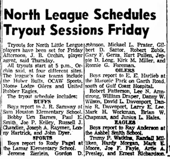 Robert Zubik -- North League Baseball Tryouts - North League Schedules Tryout Sessions Friday...