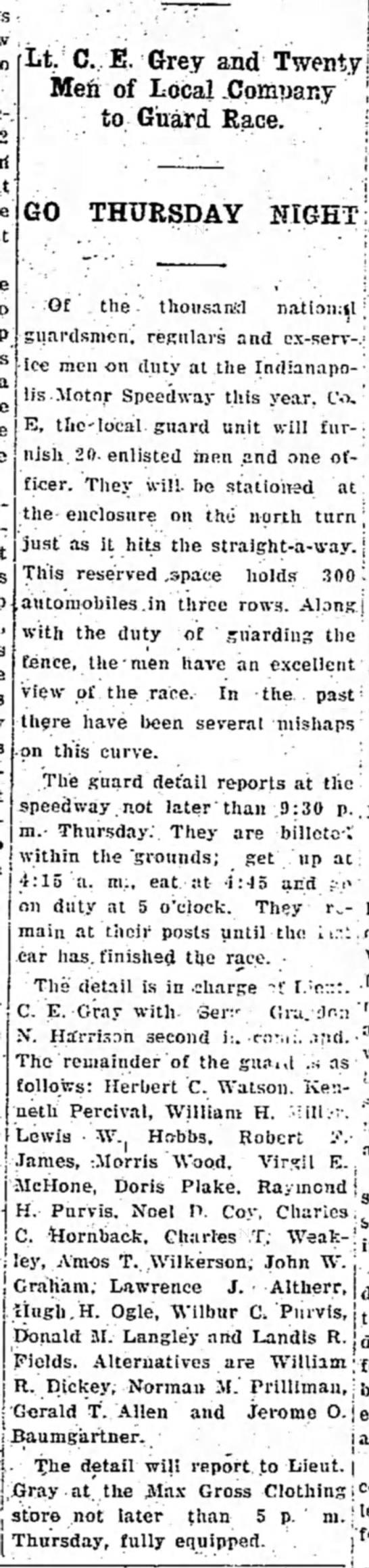 Charles T Weakley guard duty 27 May 1930 -