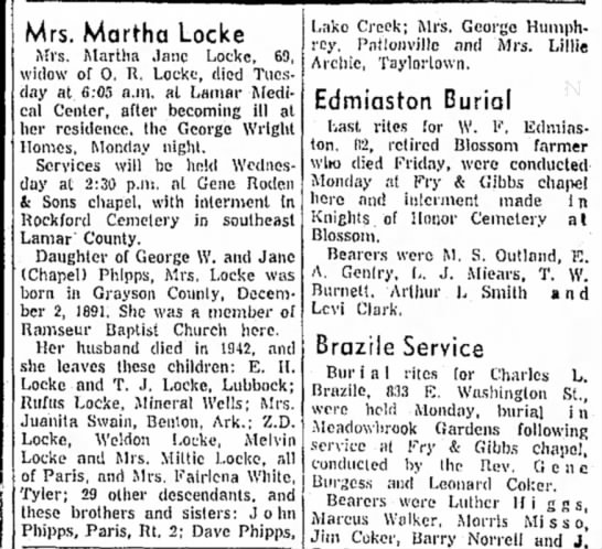 Martha Jane Locke Paris News 13 Dec 1960 -