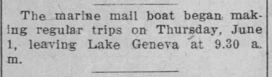1916 - First Mail Boats on Lake Geneva -