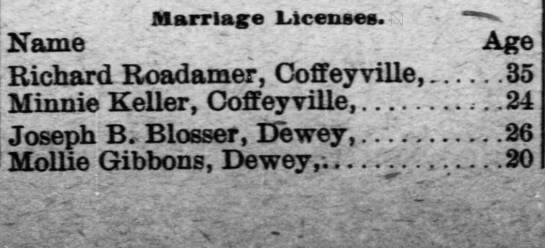 Marriage record Richard Roadarmer to Minnie Keller, Coffeyville -