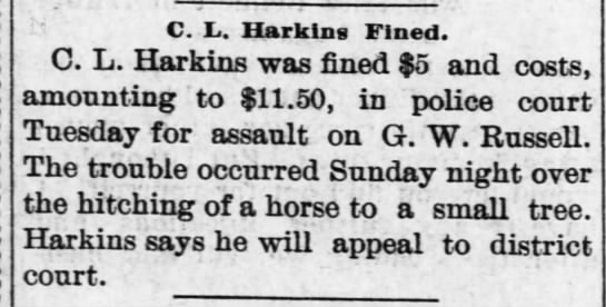 """C.L. """"Lum"""" Harkins found guilt of assault in argument of hitching a horse to a tree -"""