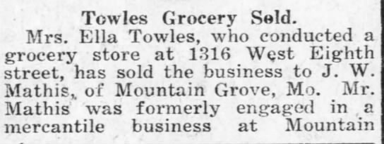 Ella Towles sells grocery store formerly owned by her husband A.T. Towles -