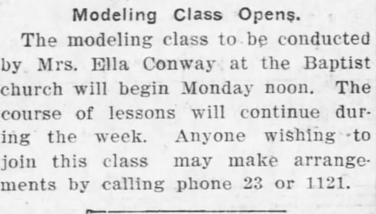 Modeling class Ella Conway -