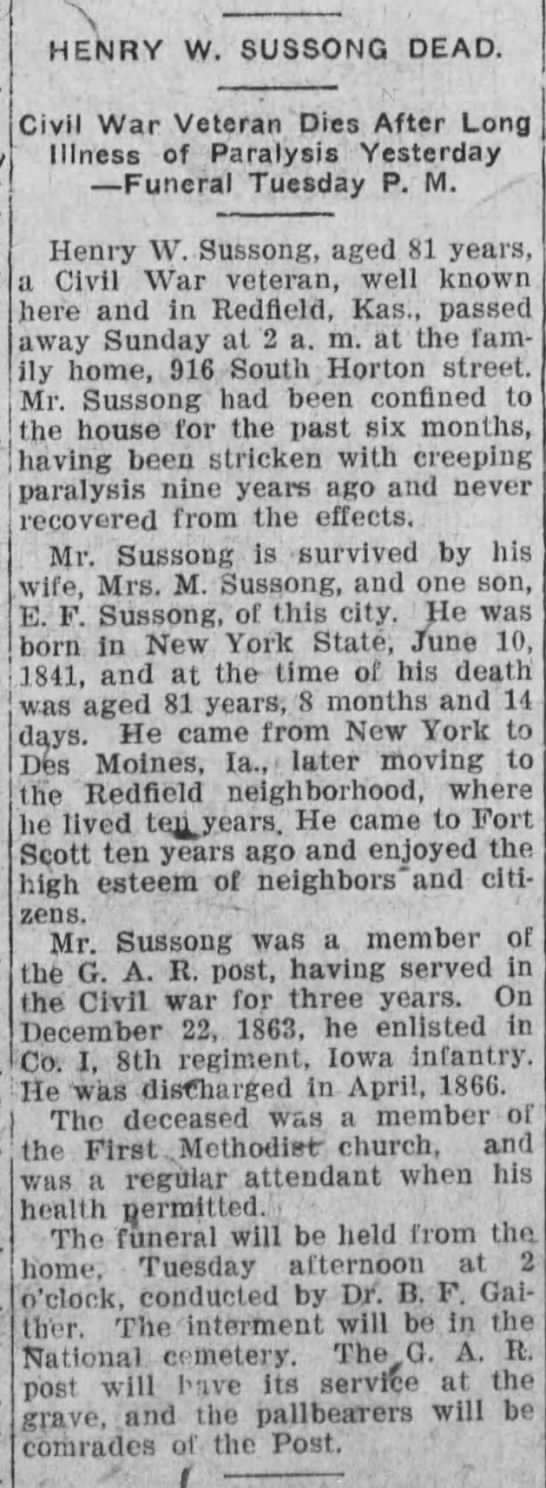 Obituary for my 3x great grandpa Henry W. Sussong -