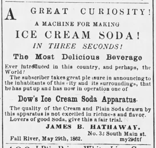 "1863 ad for ice cream soda made with cream and ""plain soda"" -"