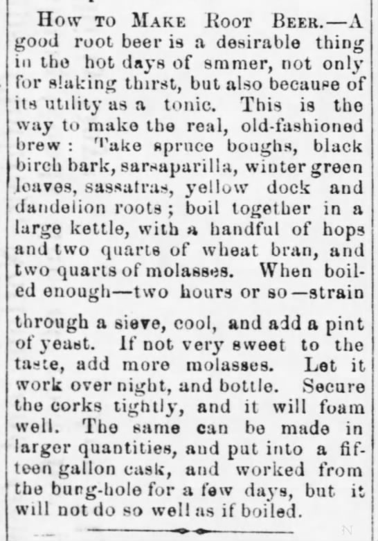 How to make Root Beer 8-22-1873 -