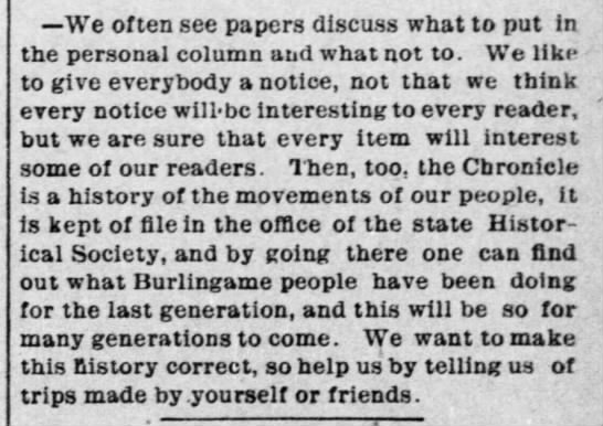 Paper encourages readers to submit their social news, 1895 -