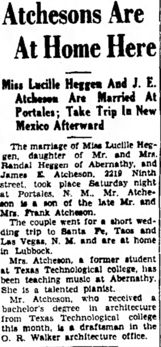 James E and Lucille Atcheson wedding news sory -