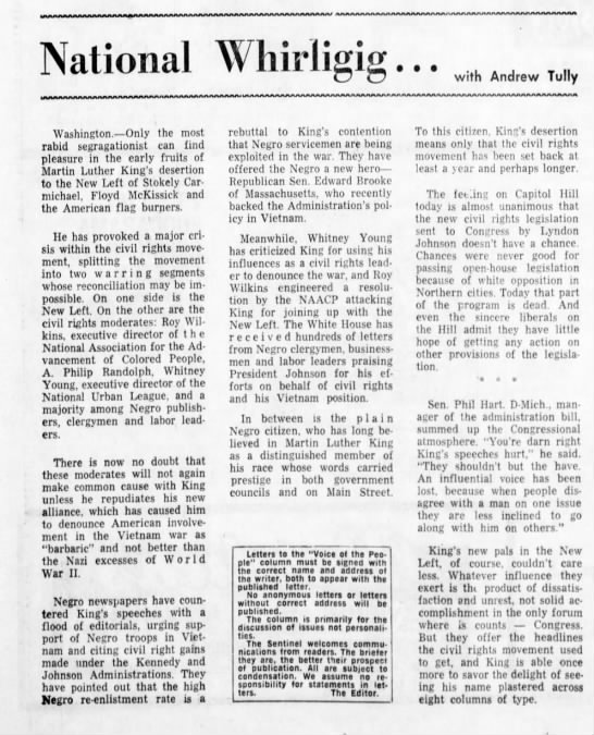 Criticism of King's view on Vietnam - Newspapers com