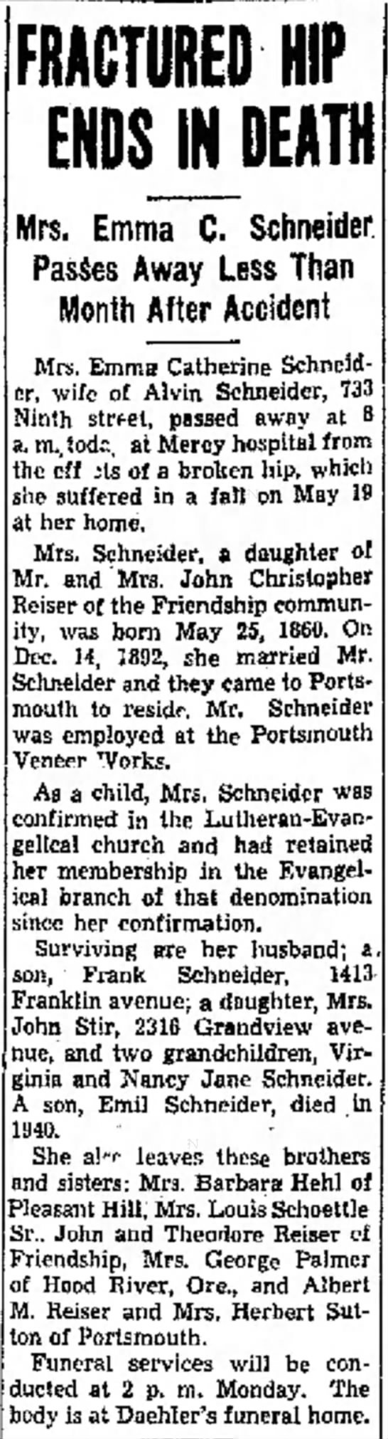 Emma C Reiser Schneider, obit. Daughter of John C Reiser.