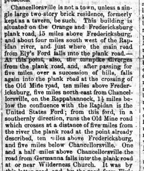 Description of Chancellorsville and surrounding area where Civil War battle took place in 1863 -
