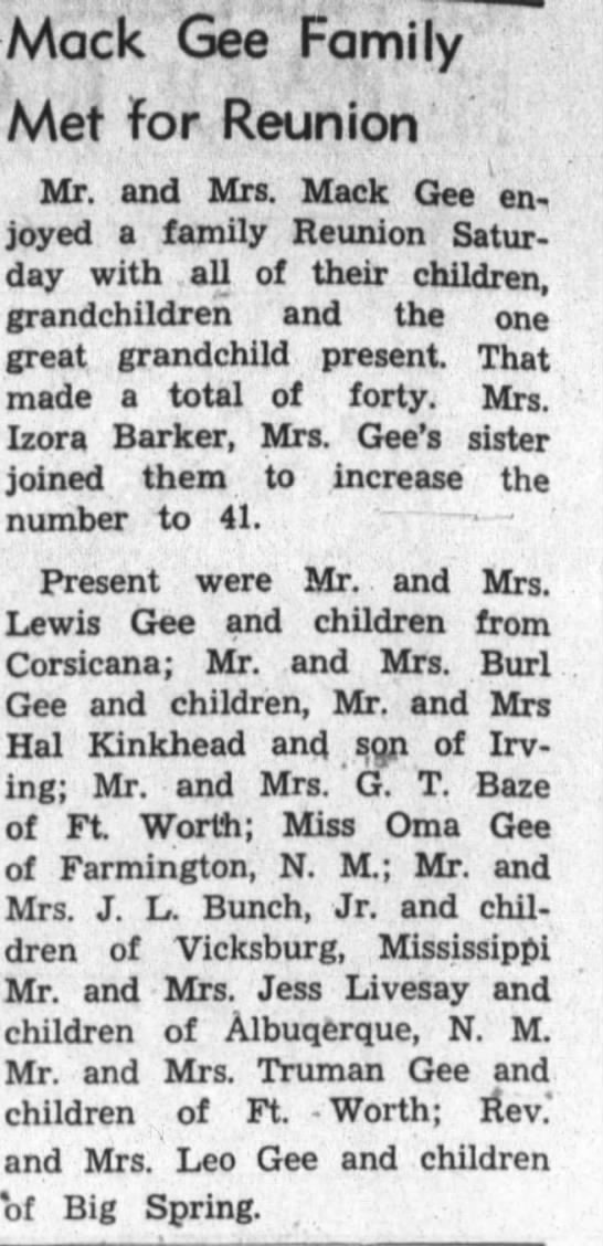 Mack Gee Family Reunion; Hood county News; June 8, 1967 -