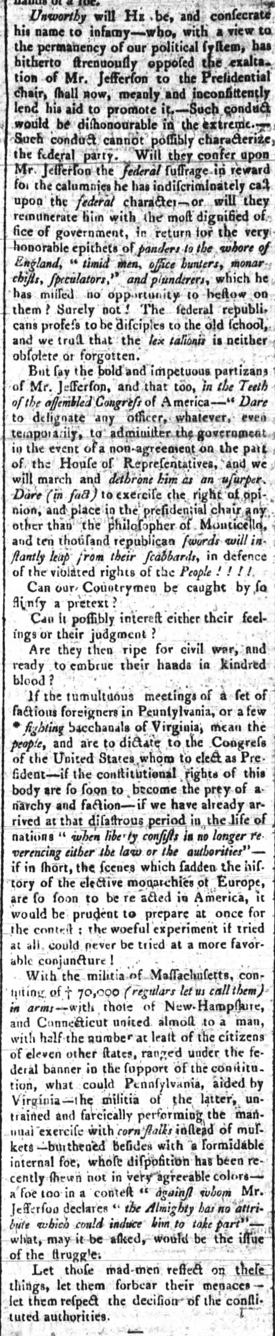 Article from a Federalist paper critical of Federalists in Congress willing to support Jefferson -