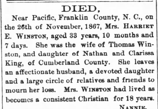 Harriett King Winston Death (3 Dec 1867, The Raleigh Register, Raleigh, NC) -