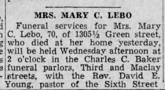 obituary of MRS MARY C LEBO (Monday, 30 September 1935, page 8, columns 5 and 6) -