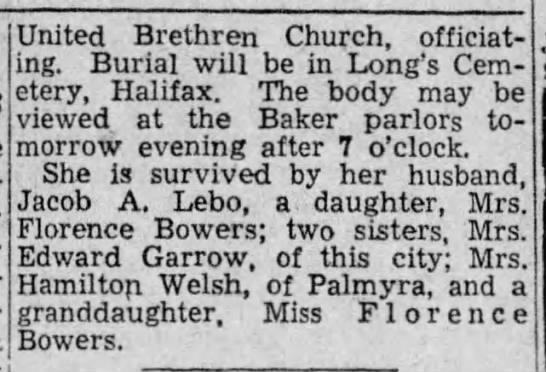 obituary of MRS MARY C LEBO cont (30 September 1935, page 8, column 6 cont from column 5 -