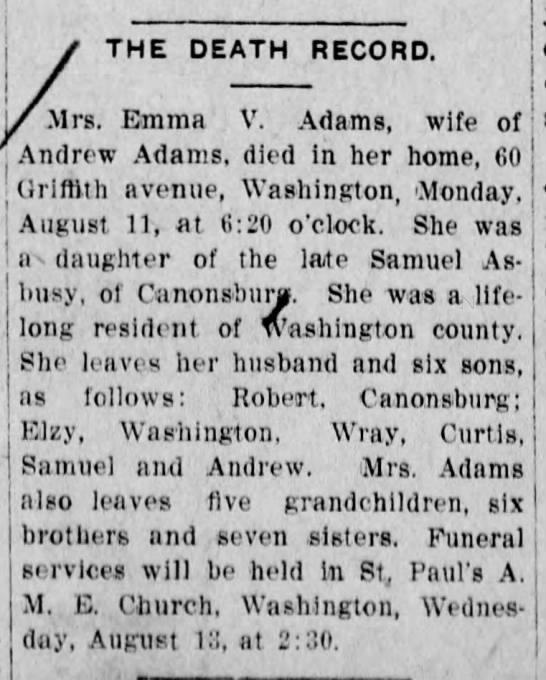 Asbury Emma Adams death 12 Aug 1913 TDN -
