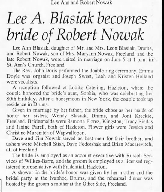 Robert Nowak Jr wedding -