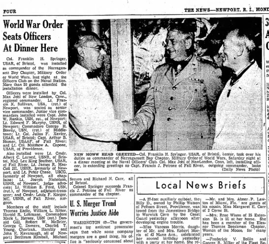 Newport (RI) Daily News 8/30/54 -
