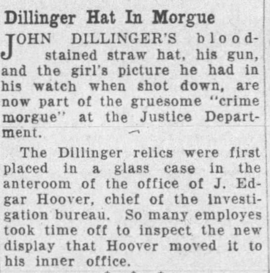 Dillinger Hat in Morgue -